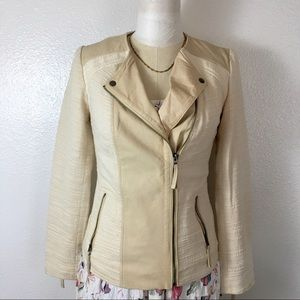 Lucky Brand genuine leather patch moto jacket